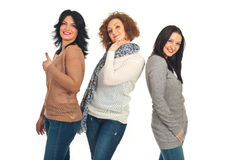 Happy three friends women Stock Photo