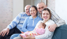 Happy three generations family Stock Images