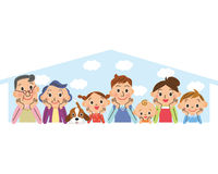 Happy Three generations family and my home Royalty Free Stock Images