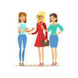Happy Three Girls Best Friends Talking, Part Of Friendship Illustration Series Stock Image