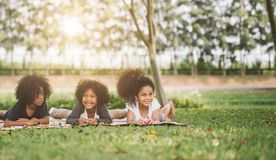 Children playing in park stock images