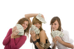 Happy three young girl with dollars in hand Stock Photo