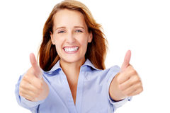 Happy thumbs up woman Stock Image