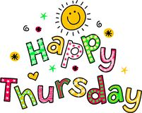 Happy Thursday Cartoon Text Clipart Royalty Free Stock Photography