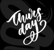 Happy Thursday - Fireworks - Today, Day, weekdays, calender, Lettering, Handwritten, vector for greeting. Happy Thursday - Fireworks - Today, Day, weekdays stock illustration