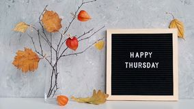 Happy Thursday text on black letter board and bouquet of branches with yellow leaves on clothespins in vase on table. Template for postcard, greeting card stock video footage