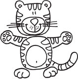 Happy tiger. On white background.  isolated illustration Royalty Free Stock Photos