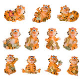 Happy tiger decoration souvenir isolated. Happy tiger with money decoration souvenir isolated royalty free stock images