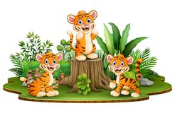 Happy tiger group with green plants stock illustration
