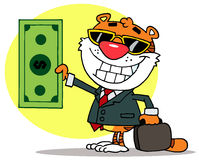 Happy tiger keeps dollar and business briefcase Stock Photo