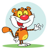 Happy tiger waving a greeting Royalty Free Stock Images