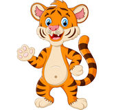 Happy tiger waving a hand Stock Images
