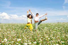 Happy time. Young couple spends time outdoors Royalty Free Stock Photo