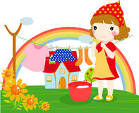 Happy time. Illustration of a cute girl Royalty Free Stock Images