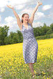 Happy time. Happy woman in nature during summer Royalty Free Stock Photos