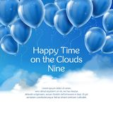 Happy time on clouds nine, vector concept banner stock illustration