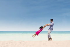 Happy time with dad at beach Stock Photography