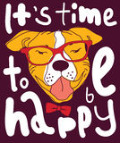 Happy time dog color poster sign. Stock Images