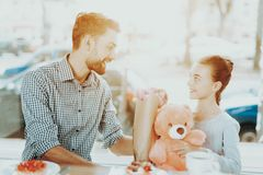 Happy Time with Father and Daughter. 8 March. royalty free stock image