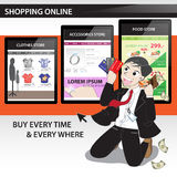 Happy time with shopping online. With cartoon character (Vector eps10 Stock Photo