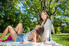 Happy time together in bosom of nature Stock Photo