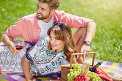 Happy time together. A photo of young, happy couple relaxing on the picnic at the park with grapes and a bottle of wine Stock Images