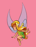Little blonde fairy. A happy tiny blonde fairy flying Stock Images