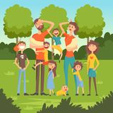 Happy tired parents with many children in the park flat vector illustration Stock Image