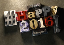 Happy 2016 title in vintage wood block text and hashtag Stock Images