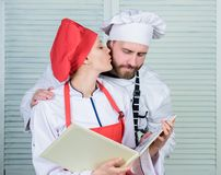 Happy to be in love. couple in love with perfect food. man and woman chef in restaurant. Menu planning. culinary cuisine stock image