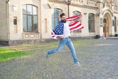 Happy to be naturalized in the United States. Bearded man gaining usa citizenship. American citizen celebrating. Independence day. Asking for citizenship royalty free stock images