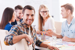 Happy to be a part of creative team. Royalty Free Stock Photo