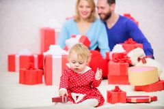 Happy to be together. Couple in love with baby toddler celebrate anniversary. Family values. Love joy and happiness. Parenthood awarded with love. Family love royalty free stock image