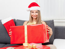 Happy to get that perfect present Royalty Free Stock Photos