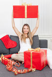Happy to get that perfect present Stock Photo