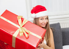 Happy to get that perfect present Stock Photography