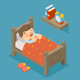 Happy to sleep. Sleeping boy. Young kid, cute person, sweet dream, comfortable bedroom, vector illustration Stock Images