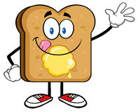 Happy Toast Bread Slice Cartoon Character Stock Photos