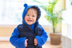 Happy toddler boy bundled up in winter clothes. Ready to go outside stock images