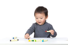Happy toddler boy drawing Royalty Free Stock Photos