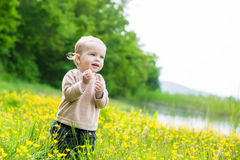 Happy toddler boy enjoying the scenery Stock Images