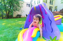 Happy toddler boy playing oustide Royalty Free Stock Photo