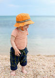 Happy toddler boy walking on the beach Royalty Free Stock Image