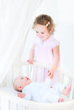 Happy toddler girl holding hand of her brother Royalty Free Stock Photo