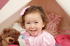 Happy Toddler Girl Laughin and Smiling Stock Images