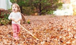 Happy toddler girl raking leaves Stock Photo