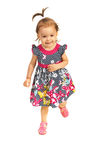 Happy toddler girl running Royalty Free Stock Photography