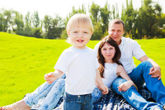 Happy toddler and his parents Stock Photography