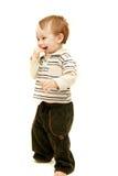 Happy toddler over white Stock Photo