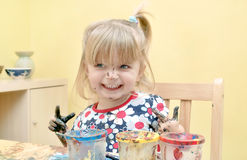Happy Toddler Painting At The Table. Stock Photography